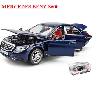 Mô hình xe ô tô Mercedes Benz S600 bằng sắt chạy cót có âm thanh và đèn mở các cửa xe - S600 thumbnail
