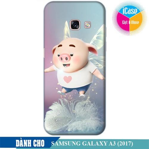 Ốp lưng nhựa dẻo dành cho Samsung Galaxy A3 2017 in hình Heo Con Bay Bổng