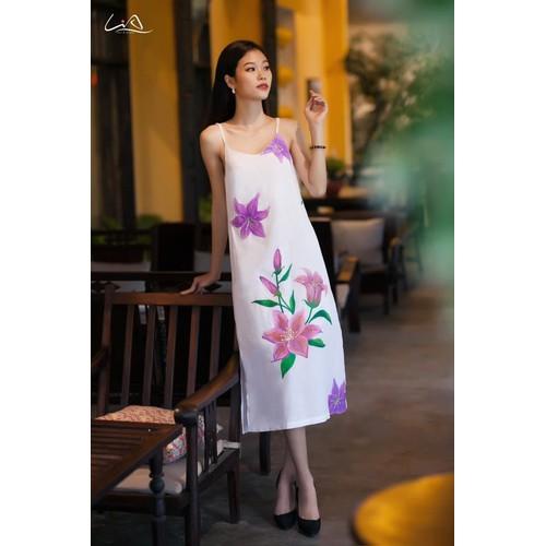 Đầm Dây Linen Họa Tiết Hoa Vẽ Tay Thủ Công Size M