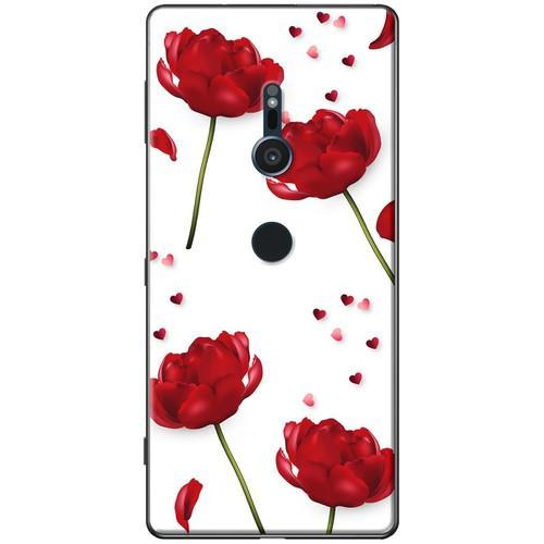 Ốp lưng nhựa dẻo Sony XZ2 Hoa đỏ nền trắng Mã SP: SOXZ2-HDNT - giá tốt