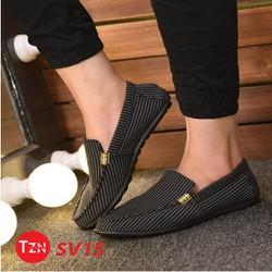 Giày Lười Nam Kẻ Sọc Cao Cấp Phong Cách Hàn Quốc SV15 Đen