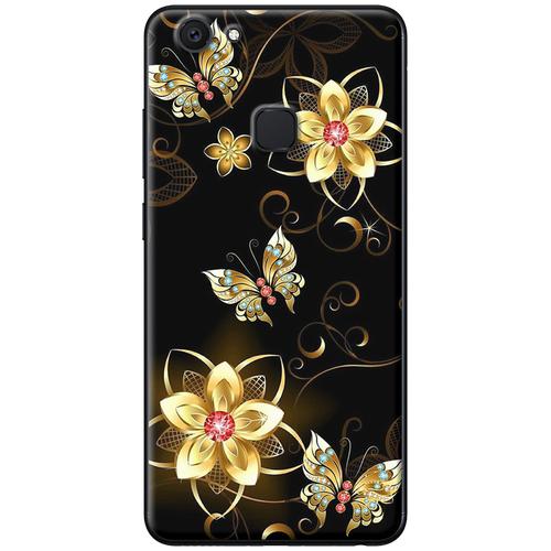 Ốp lưng nhựa dẻo Vivo V7 Hoa vàng bướm vàng Mã SP: VVV7-HVBV - hàng chất lượng cao