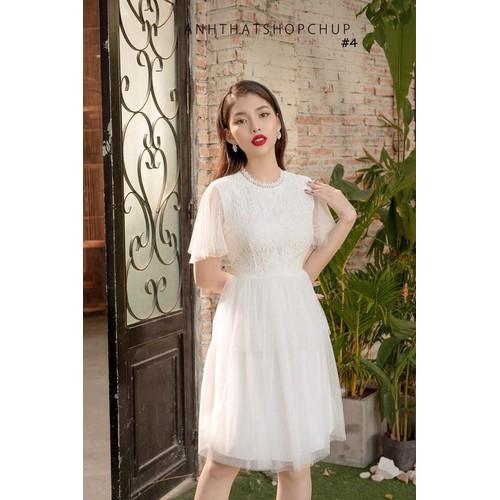 Đầm xòe trắng ren lưới