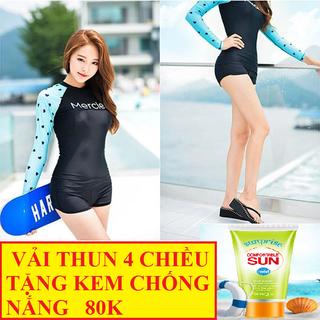 Bộ Đồ Bơi Short Dài Tay HÀN QUỐC LOẠI 1. TẶNG KEM CHỐNG NẮNG 80K. - Bộ Đồ Bơi LOẠI 1,. thumbnail