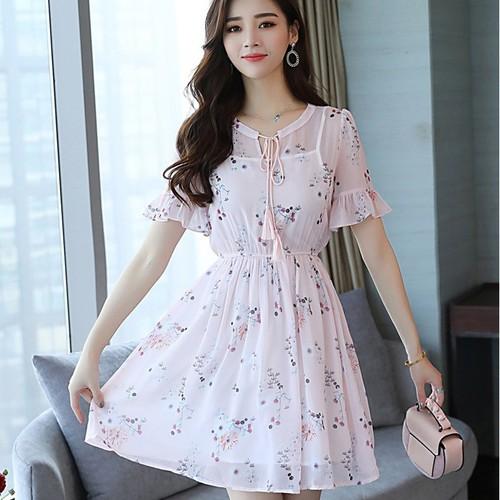 Đầm voan hoa màu hồng thắt nơ bo eo tay ngắn thời trang dạo phố cao cấp - 6134600 , 16287341 , 15_16287341 , 400000 , Dam-voan-hoa-mau-hong-that-no-bo-eo-tay-ngan-thoi-trang-dao-pho-cao-cap-15_16287341 , sendo.vn , Đầm voan hoa màu hồng thắt nơ bo eo tay ngắn thời trang dạo phố cao cấp