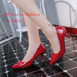 Giày Cao Gót Công Sở Bít Mũi Màu Đỏ Bóng Size Lớn 40 41 42 43 NRossi