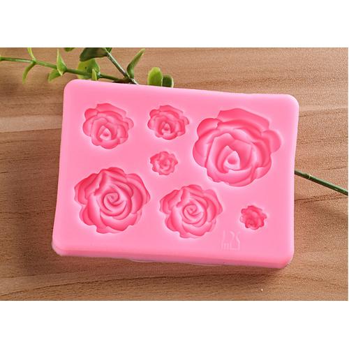 Khuôn silicon 3D 7 hoa hồng