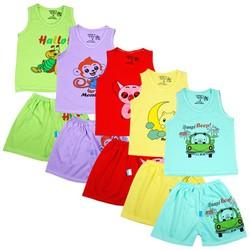 Combo gồm 5 Bộ áo ba lỗ quần đùi in hình ngộ nghĩnh cho bé trai và bé gái 4-6 kg BD01KS