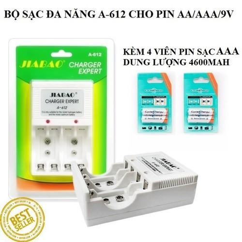 Bộ Sạc Pin Đa Năng Jiabao A612 Cho Pin AA-AAA-9V Kèm 4 Viên Pin Sạc AAA