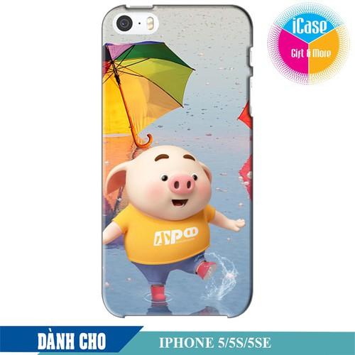 Ốp lưng nhựa cứng nhám dành cho iPhone 5S in hình Heo Con Tinh Nghịch