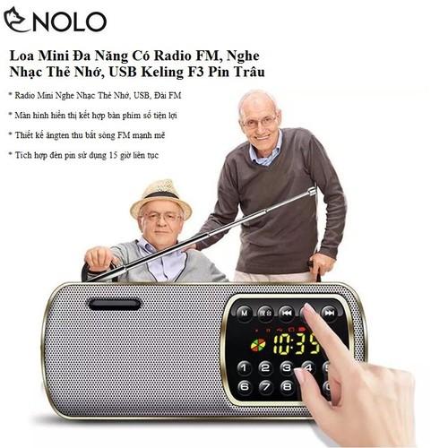 Loa Mini Đa Năng Có Radio FM, Nghe Nhạc Thẻ Nhớ, USB Keling F3 Pin Trâu