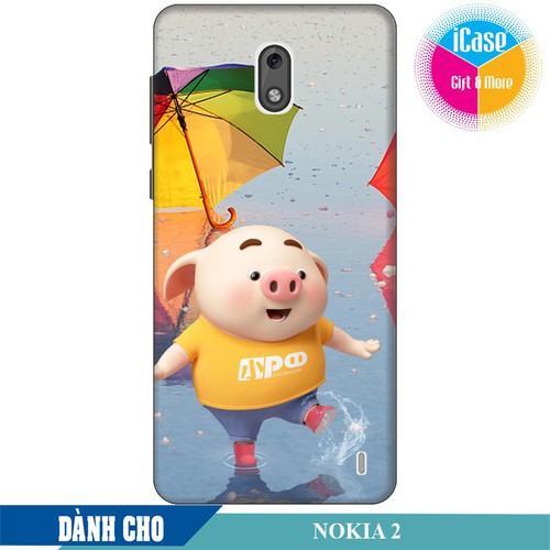 Ốp lưng nhựa cứng nhám dành cho Nokia 2 in hình Heo Con Tinh Nghịch
