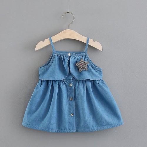 [Tặng túi 50 chun buộc tóc] đầm jean bé gái