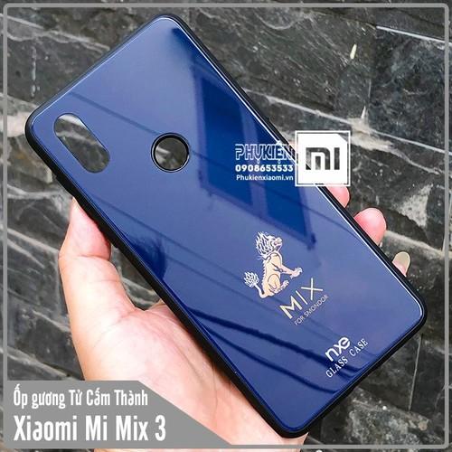 Ốp lưng gương XM Mi Mix 3 hình Tử Cẩm Thành Kỳ Lân nhỏ - xanh dương