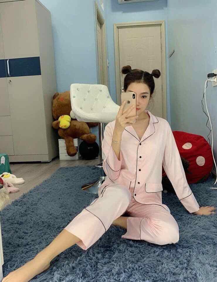 Đồ bộ pijama vải satin tay dài  cao cấp
