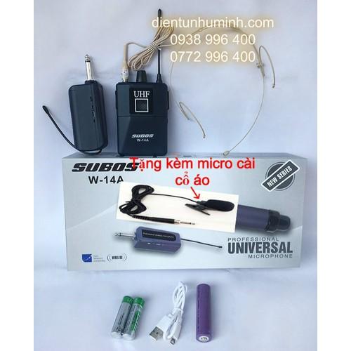 Micro không dây Đeo tai hạt gạo UHF W-14A tặng kèm micro cài cổ áo