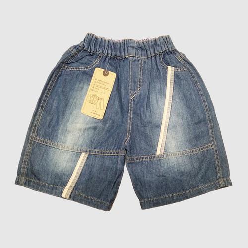 Quần short jean viền sọc trắng