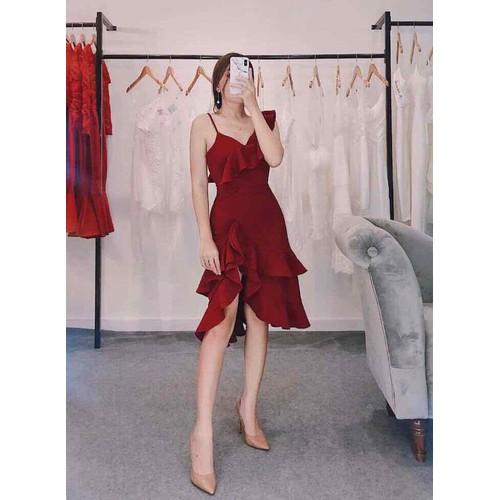 Váy bèo đỏ lai tầng
