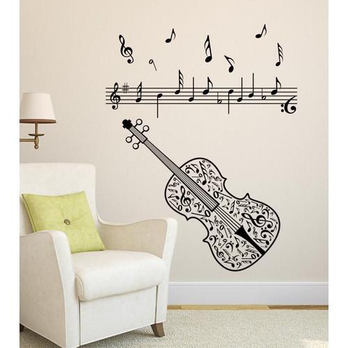 Decal Dán Tường || Hình Đàn Violin và Nốt Nhạc