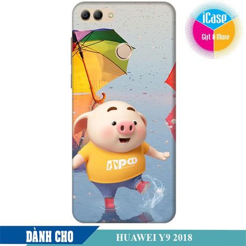 Ốp lưng nhựa cứng nhám dành cho Huawei Y9 2018 in hình Heo Con Tinh Nghịch