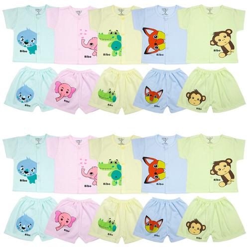 Set 10 bộ áo cộc cài cúc giữa quần đùi in hình ngộ nghĩnh cho bé trai và bé gái 4-14kg CD02KB