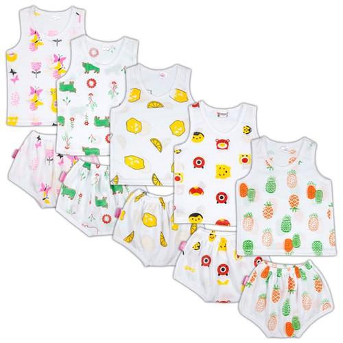Set gồm 10 Bộ áo ba lỗ quần Chíp in hình ngộ nghĩnh cho bé trai và bé gái từ 4-7kg BC01KF