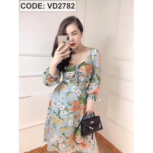 Đầm hoa xanh rút dây ngực VD2782
