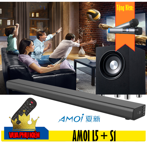 Bộ Loa Soundbar Karaoke 5.1 AMOI L5 + Loa Trầm S1 Tặng 02 Micro Không Dây