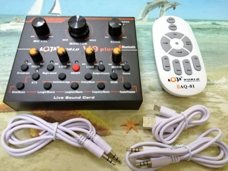 Bộ live stream 2 món Sound card V9 plus bluetooth và Micro ISK AT-100 2