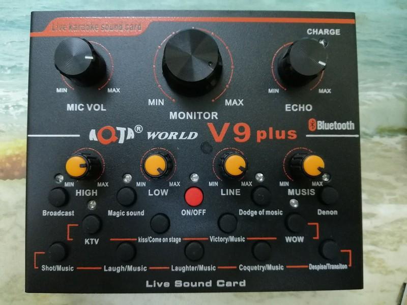 Bộ live stream 2 món Sound card V9 plus bluetooth và Micro ISK AT-100 5