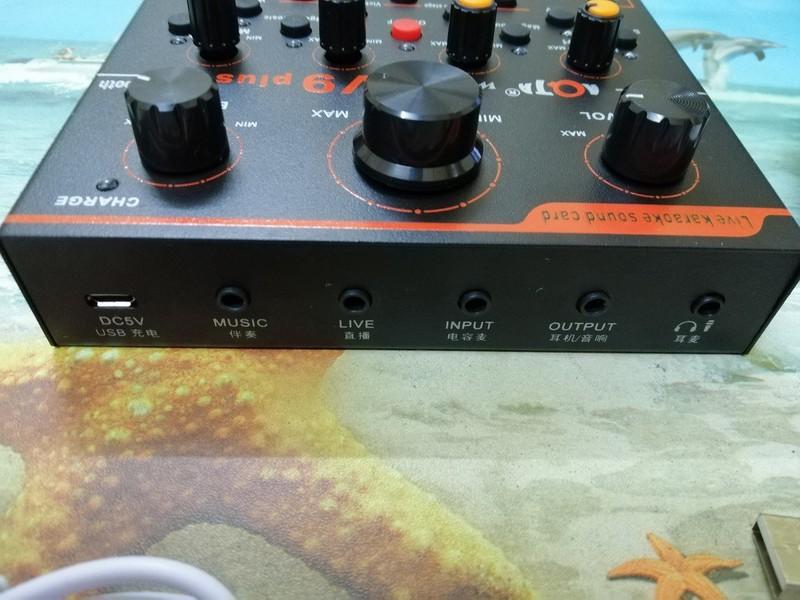 Bộ live stream 2 món Sound card V9 plus bluetooth và Micro ISK AT-100 3