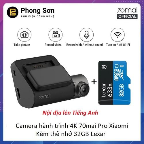 Combo Camera Hành Trình Xiaomi 70mai Dash Camera Pro , Kèm thẻ nhớ 32GB A1 - Bản Nội Địa chuyển sang Tiếng Anh