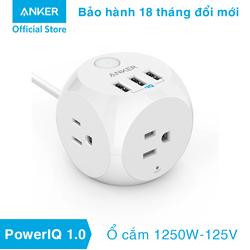 Sạc ANKER PowerStrip 3 cổng IQ 18w kèm ổ cắm điện 1250w - A2763