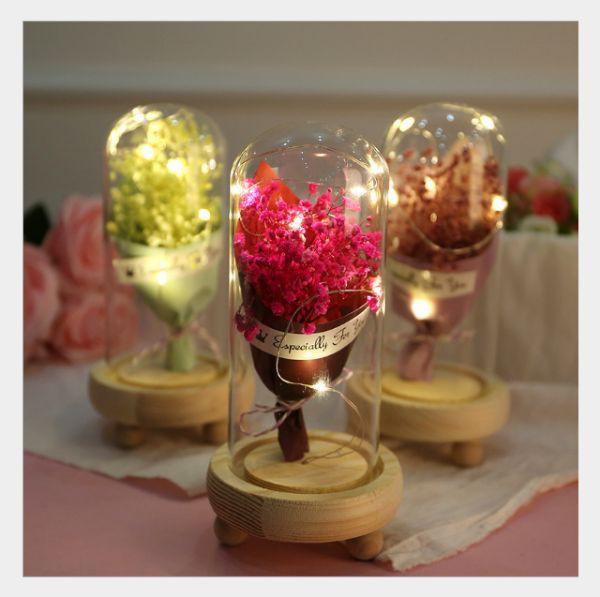 Hoa Khô Thủy Tinh Đèn LED- Hoa Bất Tử 2