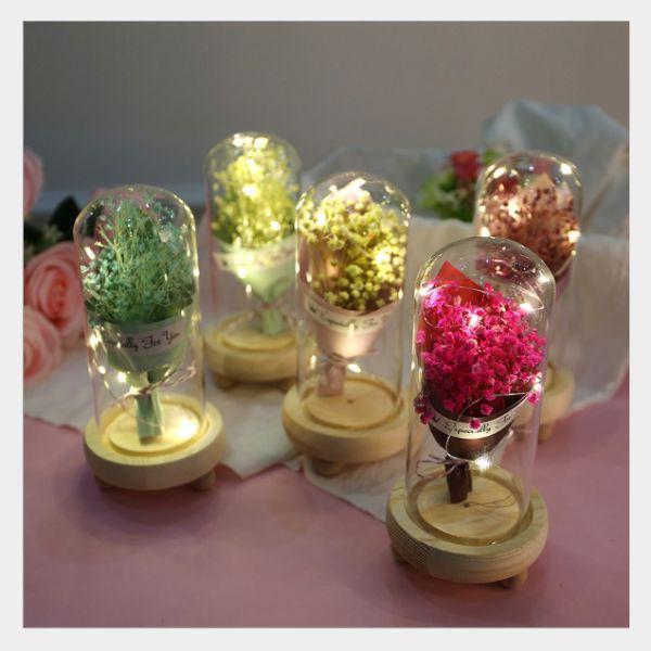 Hoa Khô Thủy Tinh Đèn LED- Hoa Bất Tử 1