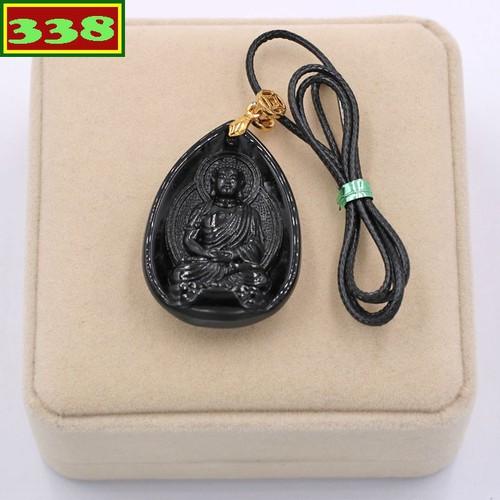 Vòng cổ mặt Phật Dược sư Như lai thạch anh đen 4 cm DSEDS9 hộp nhung