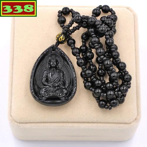 Vòng cổ mặt Phật Dược sư Như lai thạch anh đen 4 cm DHEDS9 hộp nhung