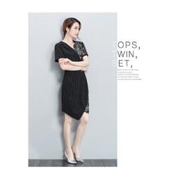 Đầm kẻ phối ren cổ vest nửa Thời Trang mới - Hàng Nhập