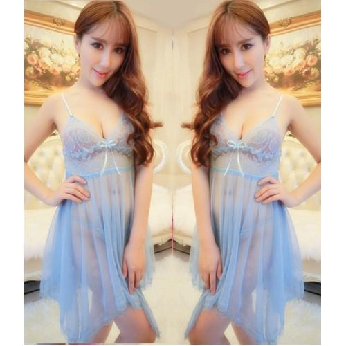 Váy ngủ Voan 2 dây - V308 - màu xanh