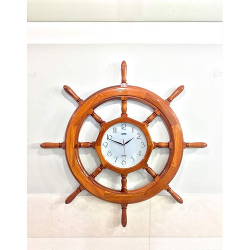Mô hình Vô lăng tàu Đồng hồ Treo tường Gỗ tự nhiên 100cm - Có Đồng hồ