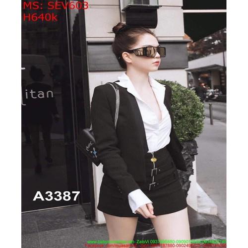 Sét áo vest dài tay và chân váy bút chì màu đen sành điệu SEV603 - 4708273 , 16366150 , 15_16366150 , 640000 , Set-ao-vest-dai-tay-va-chan-vay-but-chi-mau-den-sanh-dieu-SEV603-15_16366150 , sendo.vn , Sét áo vest dài tay và chân váy bút chì màu đen sành điệu SEV603