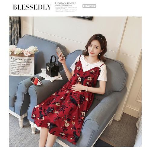 Đầm Bầu : Sét Váy Yếm 2 Dây Tiểu Thư Đỏ -Hoa