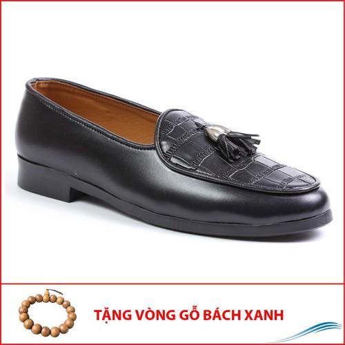 Giày Lười Nam Chuông Vàng Vân Da Bụng Cá Sấu Rất Sang Trọng - M507-10319