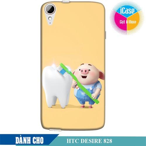 Ốp lưng nhựa dẻo dành cho HTC Desire 828 in hình Heo Con Đánh Răng