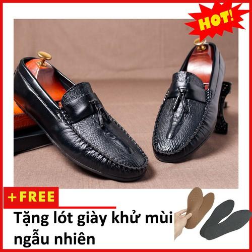 Giày Mọi Nam Đẹp Đế Khâu Có Chuông Vân Cá Sấu Màu Đen Sang Trọng - M117|10319