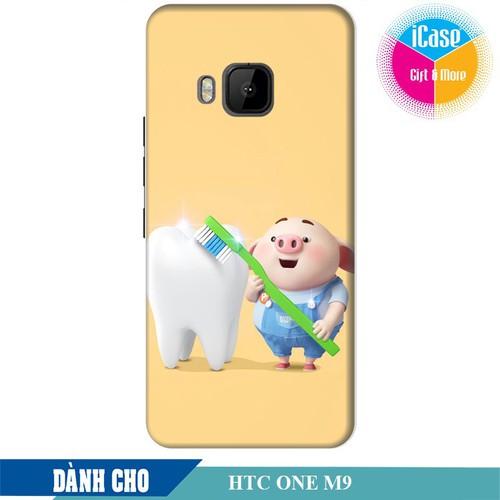 Ốp lưng nhựa dẻo dành cho HTC One M9 in hình Heo Con Đánh Răng