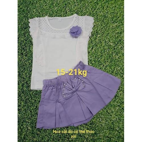 Sét quần giả váy màu tím và áo coton phối ren cho bé 15-43kg