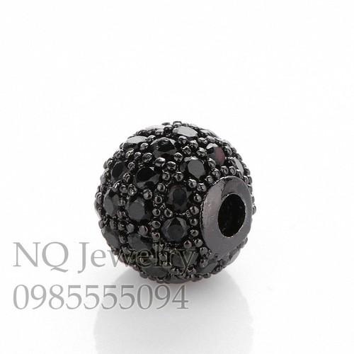 Phụ kiện bạc hình tròn đen có đính hột 10mm