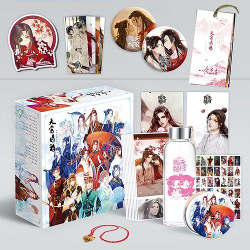 Hộp quà thiên quán tứ phúc hộp lớn có bookmark postcard huy hiệu ảnh dán ảnh thẻ poster anime giftbox