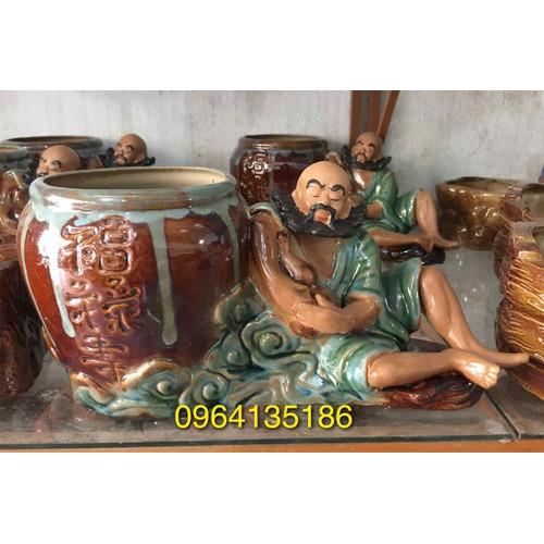 Tượng la hán bên chậu trồng cây gốm sứ Bát Tràng - 4735699 , 16619694 , 15_16619694 , 350000 , Tuong-la-han-ben-chau-trong-cay-gom-su-Bat-Trang-15_16619694 , sendo.vn , Tượng la hán bên chậu trồng cây gốm sứ Bát Tràng